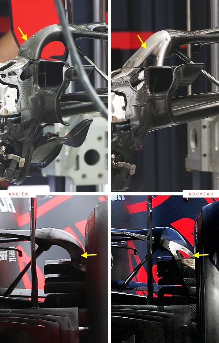 レッドブルがRB16のリヤサスペンションデザインを変更(右がアイフェルGP仕様)