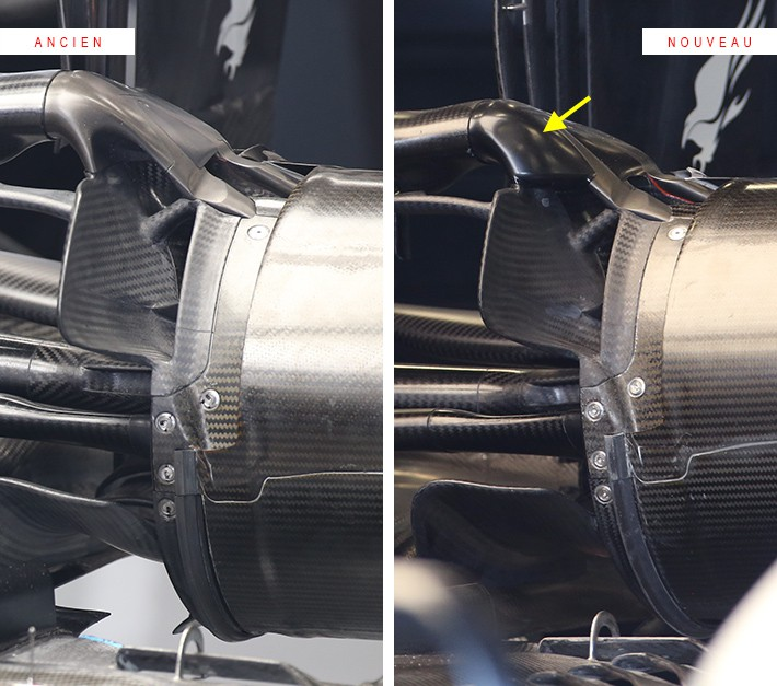 メルセデスが2020年オーストラリアGPに持ち込んだサスペンションデザイン(右は修正版)