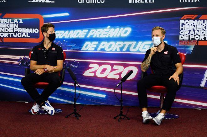 2020年F1第12戦ポルトガルGP 木曜記者会見のロマン・グロージャンとケビン・マグヌッセン(ハース)
