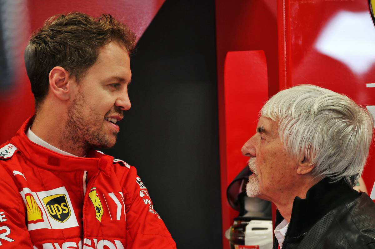 2019年F1第20戦ブラジルGP セバスチャン・ベッテル(フェラーリ)&バーニー・エクレストン