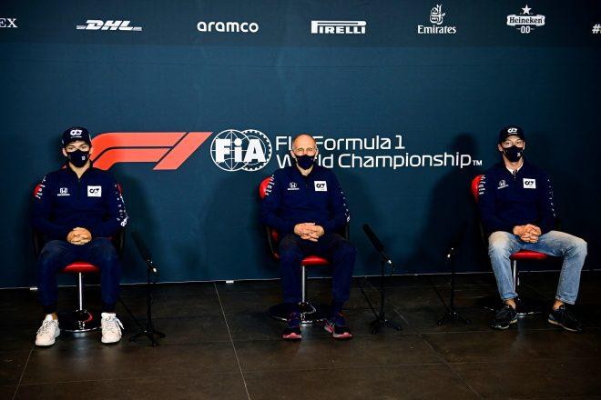 2020年F1第13戦エミリア・ロマーニャGP 金曜記者会見でのピエール・ガスリー、フランツ・トスト代表、ダニール・クビアト(アルファタウリ・ホンダ)