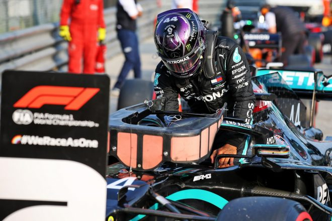 2020年F1第13戦エミリア・ロマーニャGP 予選2番手のルイス・ハミルトン(メルセデス)