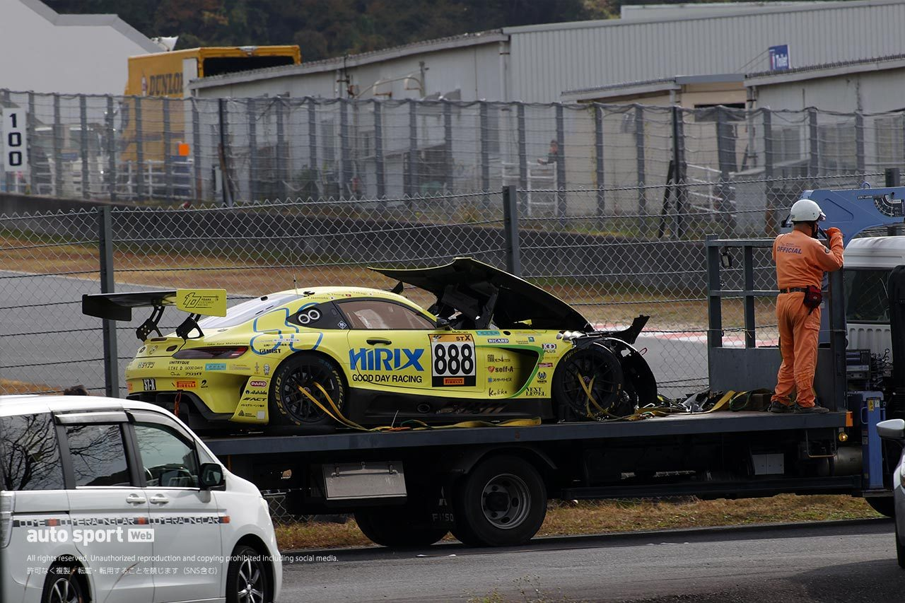 スーパー耐久:HIRIX GOOD DAY AMG GT3がクラッシュ。高木真一は病院搬送も意識はあり