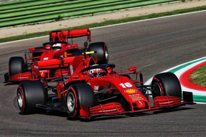 2020年F1第13戦エミリア・ロマーニャGP シャルル・ルクレールとセバスチャン・ベッテル(フェラーリ)