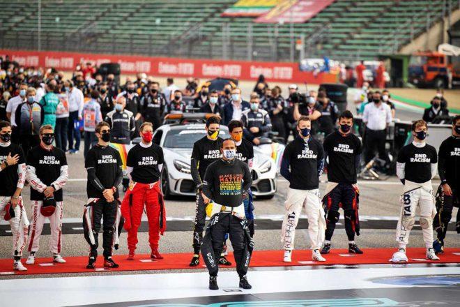 2020年F1第13戦エミリア・ロマーニャGP グリッド上で整列するF1ドライバーたち
