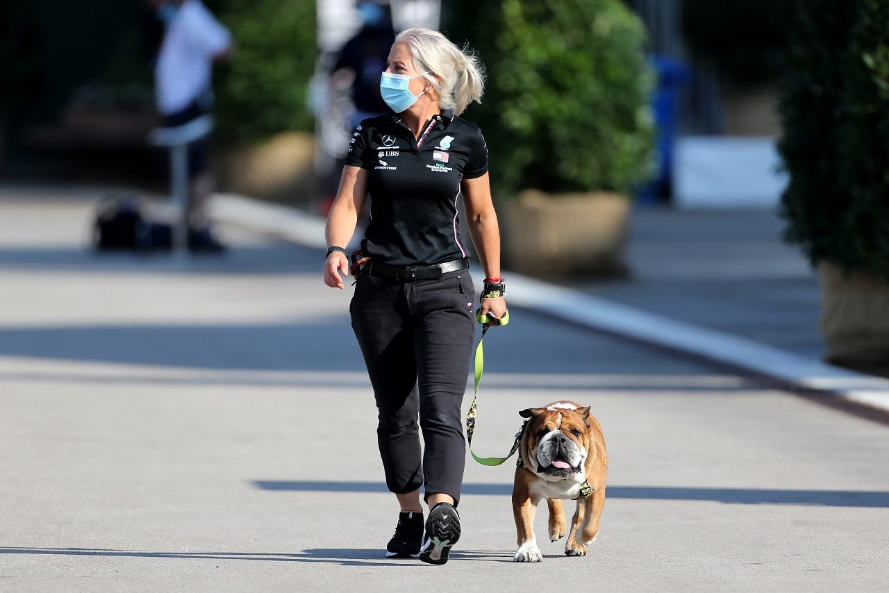 2020年F1第14戦トルコGP ルイス・ハミルトン(メルセデス)の愛犬ロスコーの世話をするフィジオのアンジェラ・カレンさん