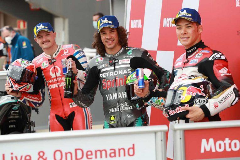 MotoGP | ランキング5番手につけるモルビデリ「可能性が小さくても、タイトルを目指したい」/MotoGP第14戦予選トップ3会見