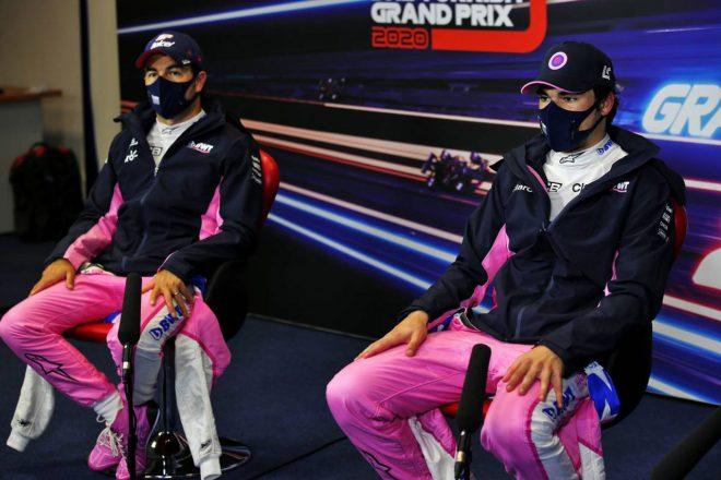 2020年F1第14戦トルコGP 予選後会見に出席したセルジオ・ペレスとランス・ストロール(レーシングポイント)