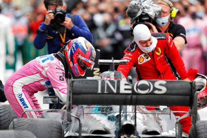 ルイス・ハミルトン(メルセデス)、セバスチャン・ベッテル(フェラーリ)、セルジオ・ペレス(レーシングポイント)