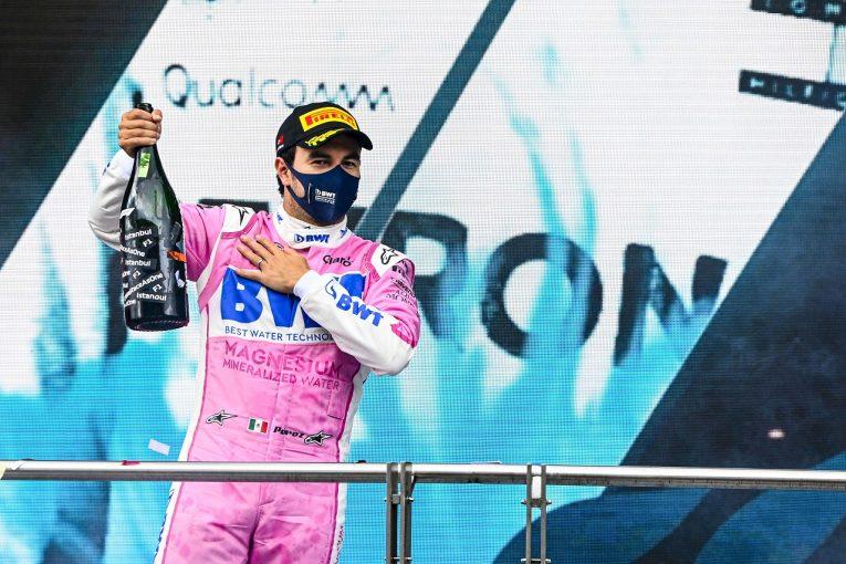F1 | ペレス2位「念願のシーズン初表彰台。タイヤはあと1周は持たなかったと思う」レーシングポイント【F1第14戦】
