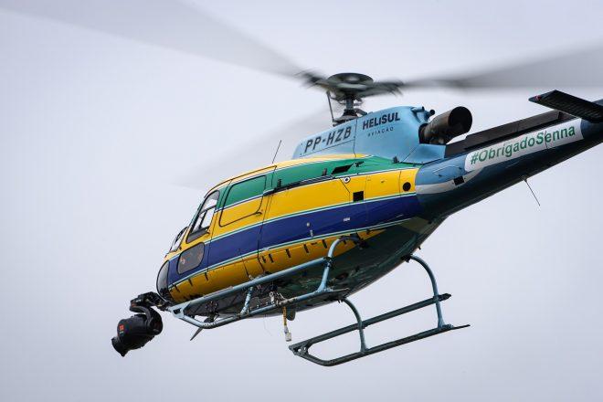 2019年F1ブラジルGP(インテルラゴス) アイルトン・セナのヘルメットカラーが施されたヘリコプター