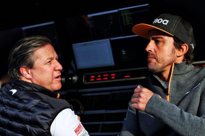 2019年F1バルセロナテスト フェルナンド・アロンソとマクラーレンのザク・ブラウン