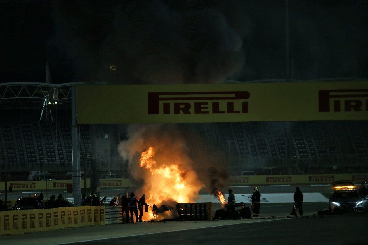 2020年F1第15戦バーレーンGP決勝 ロマン・グロージャン(ハース)が大クラッシュ