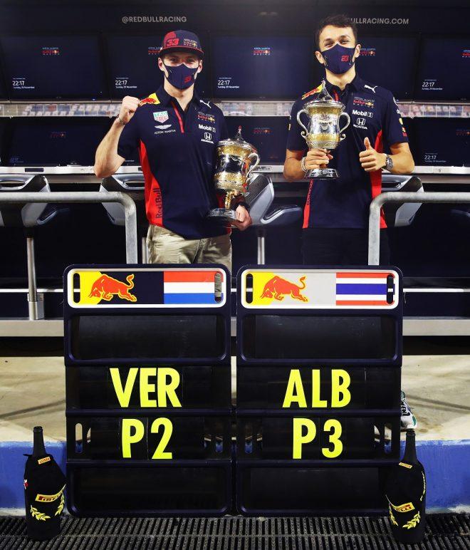 2020年F1第15戦バーレーンGP マックス・フェルスタッペン(レッドブル・ホンダ)が2位、アレクサンダー・アルボン(レッドブル・ホンダ)が3位を獲得