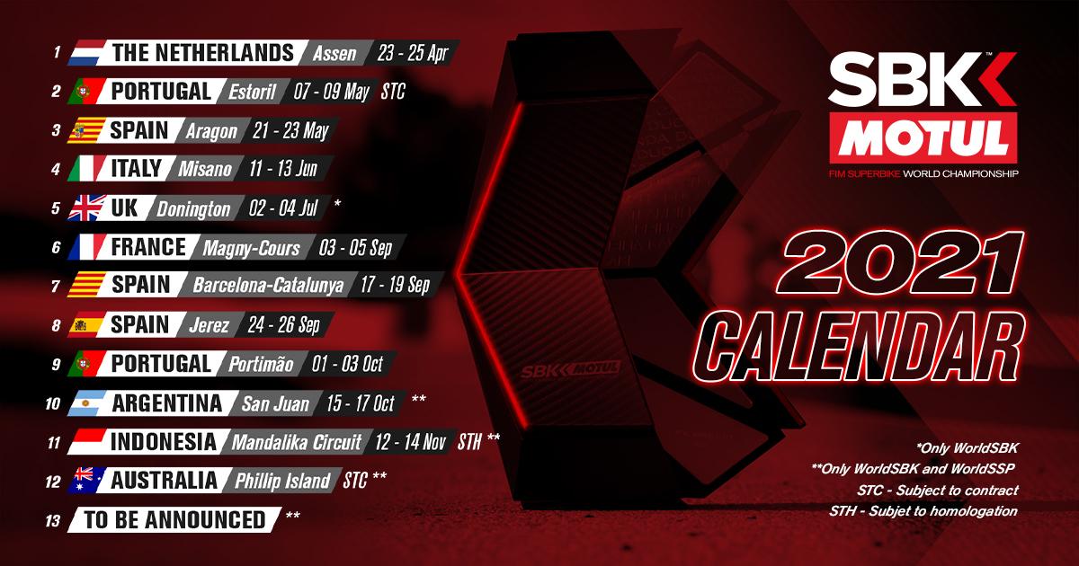 2021年のSBK暫定カレンダーが発表。ヨーロッパでの開幕は2004年以来、全13戦開催予定