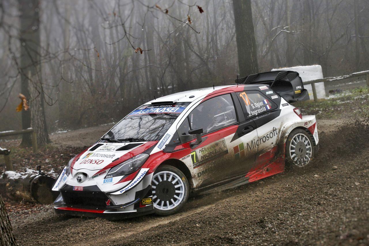 WRCモンツァ:トヨタ、最終戦初日は3台がトップ5入り。首位のオジエ「これからが本番」