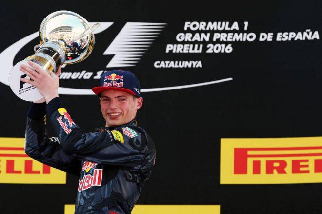 2016年F1第5戦スペインGP レッドブルデビュー戦で優勝を飾ったマックス・フェルスタッペン(レッドブル・レーシング)