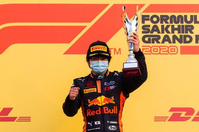 2020年FIA-F2第12戦バーレーンGP 優勝を飾った角田裕毅(カーリン)