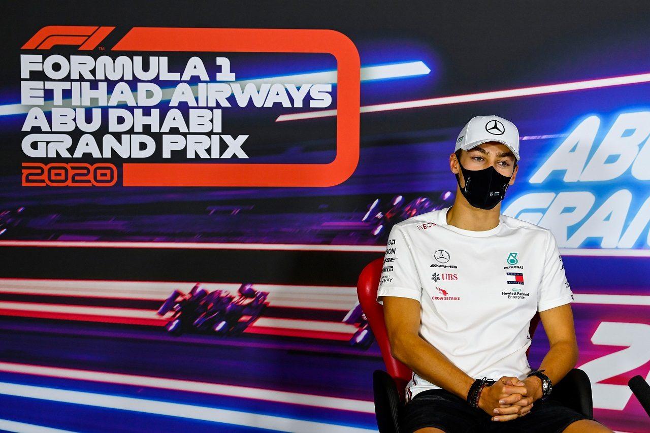 2020年F1第17戦アブダビGP木曜 メルセデスのメンバーとして記者会見に出席したジョージ・ラッセル