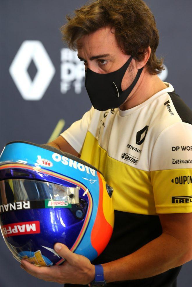 2020年F1第17戦アブダビGP フェルナンド・アロンソ(ルノー)がR25デモランの準備