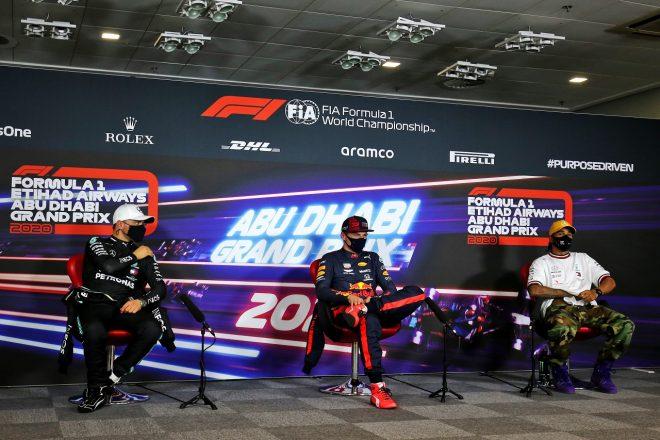 2020年F1第17戦アブダビGP予選トップ3記者会見 ポールのマックス・フェルスタッペン(レッドブル・ホンダ)、2番手バルテリ・ボッタス(メルセデス)、3番手ルイス・ハミルトン(メルセデス)
