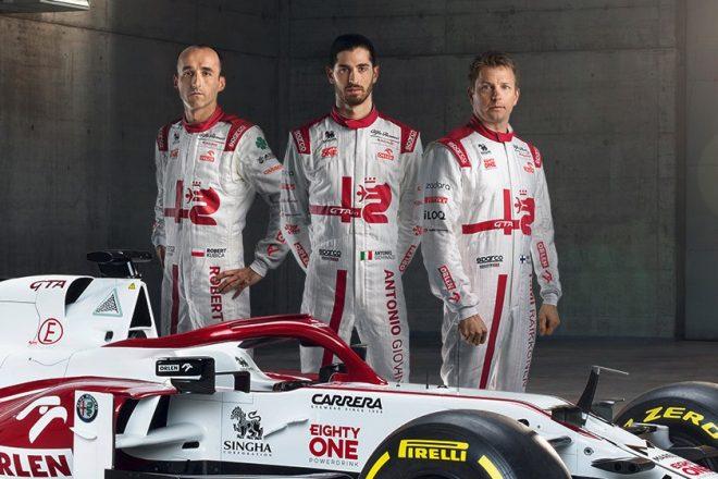 アルファロメオの2021年型F1マシン『C41』とドライバーのライコネン、ジョビナッツィ、クビサ