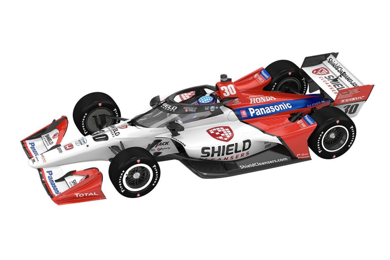 2021年のインディカー・シリーズ5戦で佐藤琢磨車に新スポンサー。白赤のカラーリングに