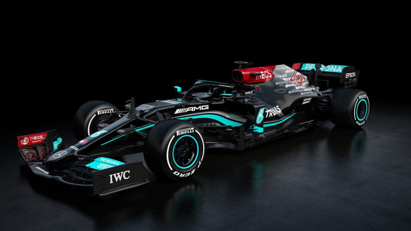 F1   王者メルセデスF1が2021年型新マシン『W12』を公開。ブラックのカラーリングを継続、前人未到の8連覇へ