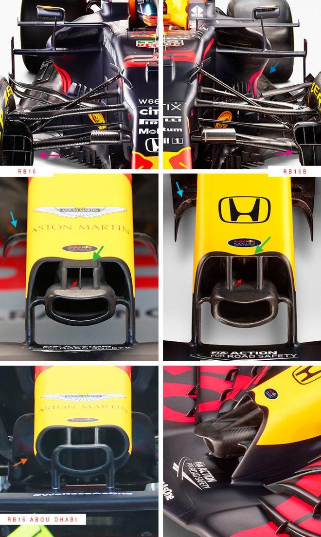 レッドブル・レーシングF1の2021年型『RB16B』と2020年型『RB16』の比較(ノーズ)