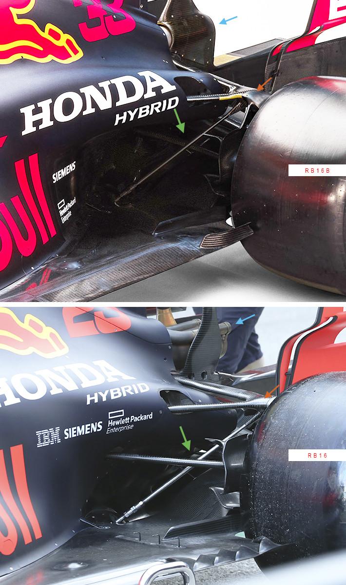 レッドブル・レーシングF1の2021年型『RB16B』と2020年型『RB16』の比較