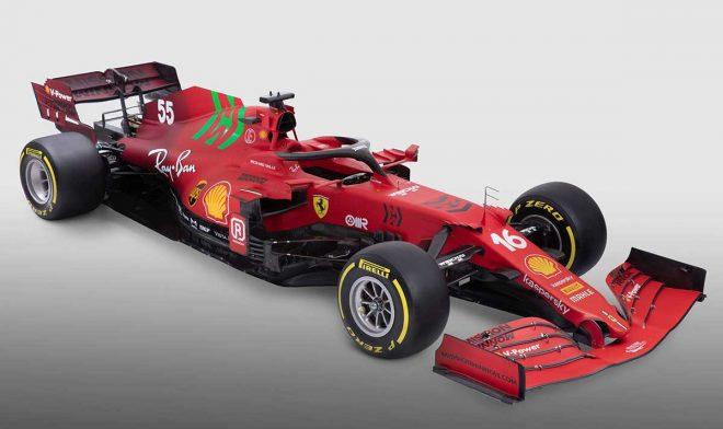 フェラーリの2021年型F1マシン『SF21』 正面斜めアップ
