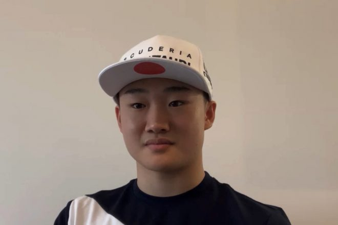 イギリスのミルトンキーンズからオンライン会見に出席した角田裕毅(アルファタウリ・ホンダ)