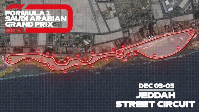 F1サウジアラビアGPの開催地ジェッダ・ストリート・サーキットのレイアウト