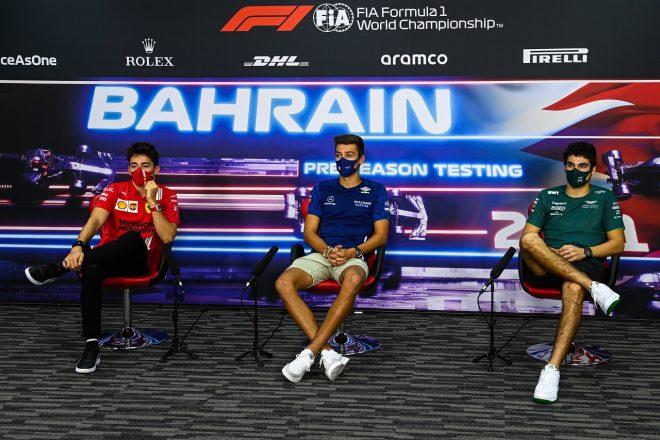 2021年F1プレシーズンテスト記者会見:シャルル・ルクレール(フェラーリ)、ジョージ・ラッセル(ウイリアムズ)、ランス・ストロール(アストンマーティン)