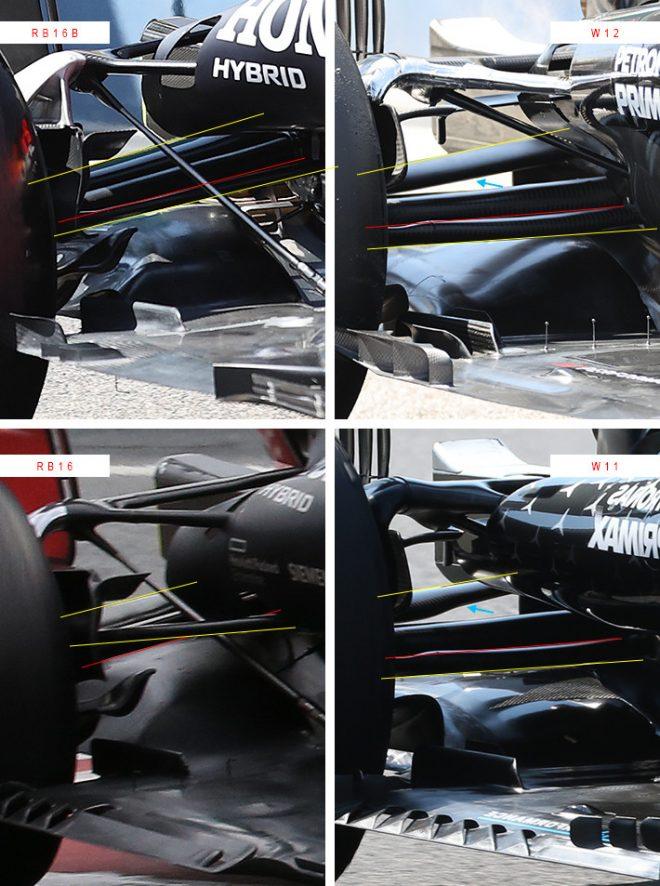 メルセデスW12、W11とレッドブルRB16B、RB16 リヤサスペンション周り