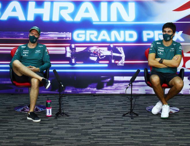 2021年F1第1戦バーレーンGP 記者会見でのセバスチャン・ベッテルとランス・ストロール(アストンマーティン)
