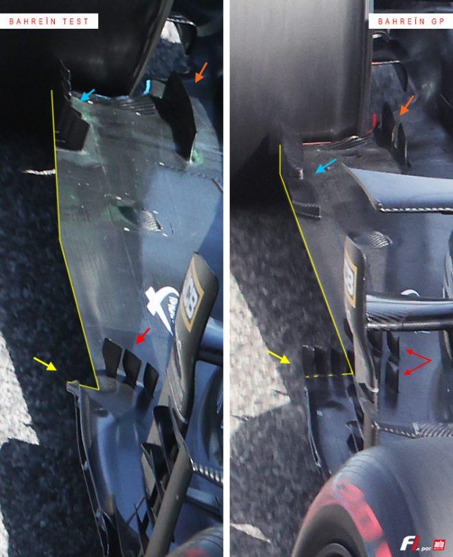 アストンマーティンAMR21のフロア:2021年F1第1戦バーレーンGPとバーレーンテストの比較
