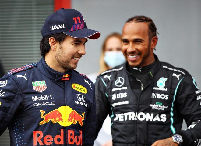 2021年F1第2戦エミリア・ロマーニャGP予選 セルジオ・ペレス(レッドブル・ホンダ)とルイス・ハミルトン(メルセデス)