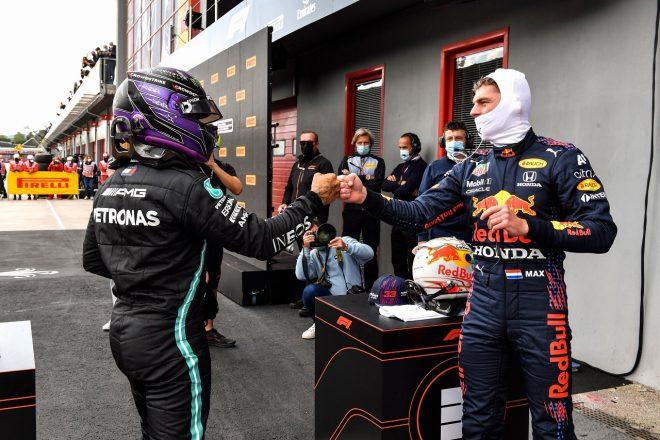 2021年F1第2戦エミリア・ロマーニャGP予選 マックス・フェルスタッペン(レッドブル・ホンダ)とルイス・ハミルトン(メルセデス)