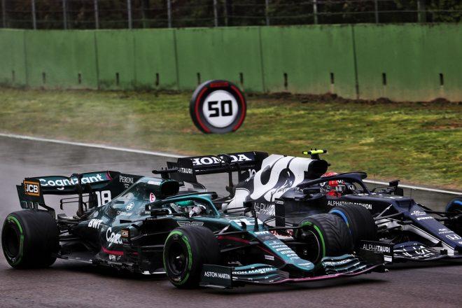 2021年F1第2戦エミリア・ロマーニャGP ピエール・ガスリー(アルファタウリ・ホンダ)とランス・ストロール(アストンマーティン)のバトル