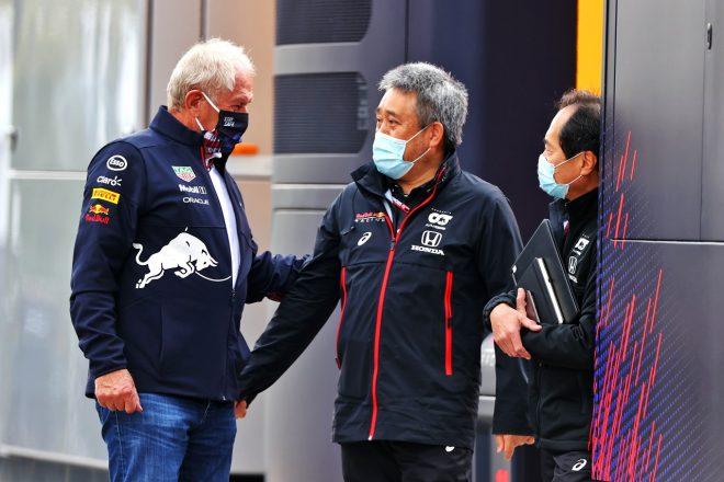 2021年F1第2戦エミリア・ロマーニャGP ヘルムート・マルコ(レッドブル)、山本雅史と田辺豊治(ホンダF1)