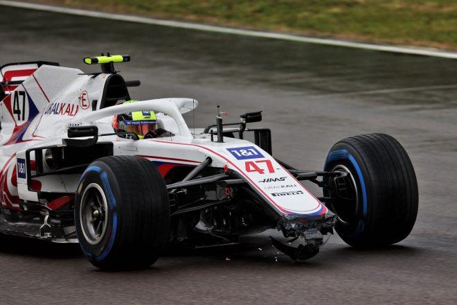2021年F1第2戦エミリア・ロマーニャGP クラッシュでウイングを失ったミック・シューマッハー(ハース)