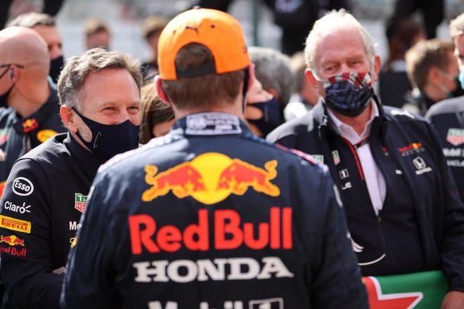 2021年F1第3戦ポルトガルGP マックス・フェルスタッペン、クリスチャン・ホーナー代表、モータースポーツ・コンサルタントのヘルムート・マルコ(レッドブル・ホンダ)