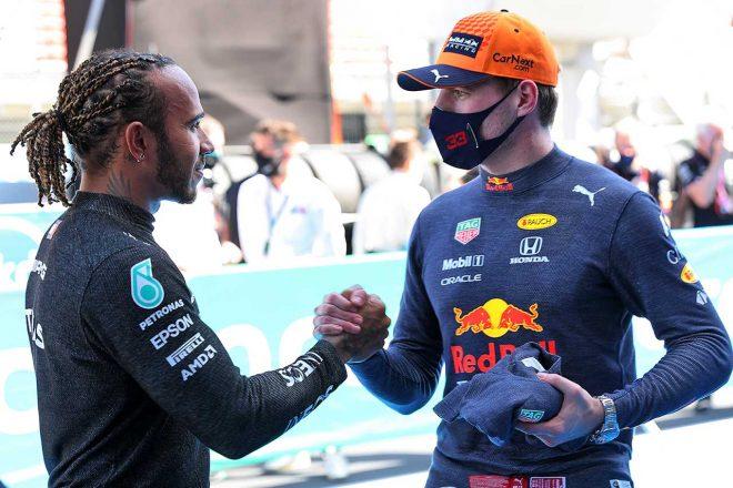 2021年F1第4戦スペインGP 予選後のルイス・ハミルトン(メルセデス)とマックス・フェルスタッペン(レッドブル・ホンダ)