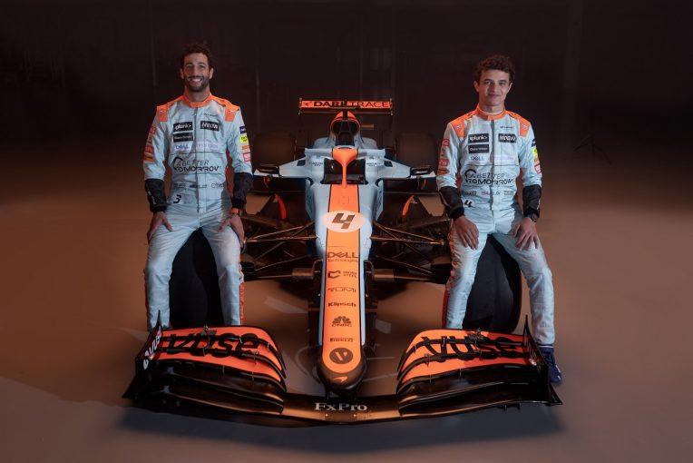 F1 | マクラーレンF1、モナコGPにガルフカラーで参戦。マシンとドライバーがレトロなブルー&オレンジに