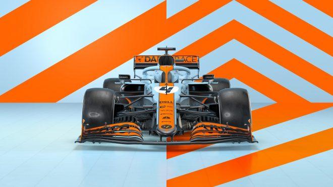 2021年F1第5戦モナコGP用に用意されたガルフカラーのマクラーレンMCL35M