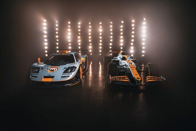 ガルフカラーのマクラーレンMCL35Mと1997年ル・マンに出場したマクラーレンF1 GTR