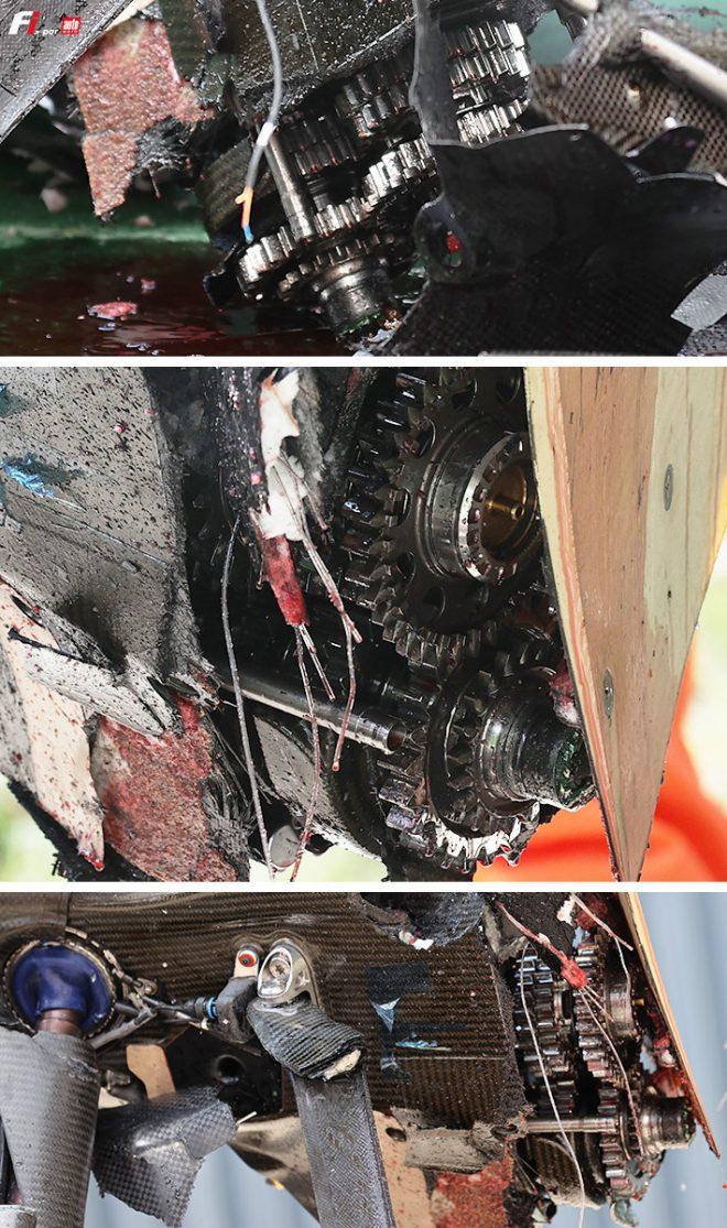 クラッシュにより露呈したアルファタウリAT02のギヤボックス内部