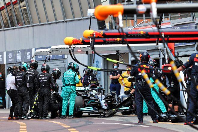 2021年F1第5戦モナコGP バルテリ・ボッタス(メルセデス)のピット作業でトラブル