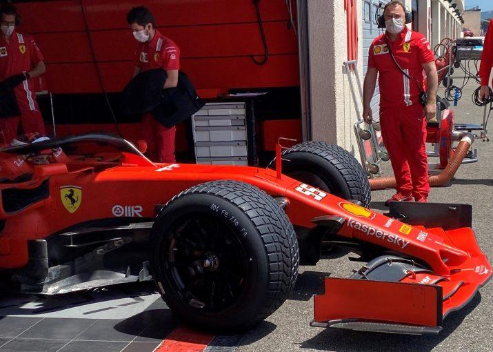 F1   フェラーリF1のサインツが18インチタイヤのテスト。インターミディエイト&フルウエットで167周を走行